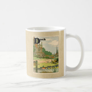 Duck and Ducklings Swimming on the River Classic White Coffee Mug