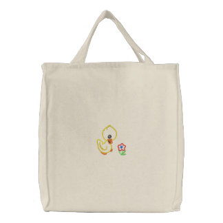 Duck and Flower Embroidered Tote Bag