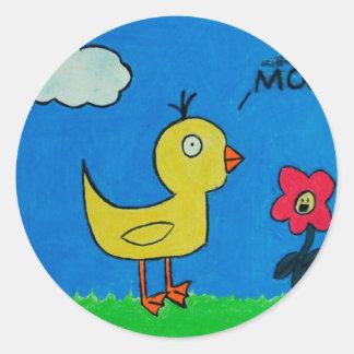 Duck and Flower Round Sticker