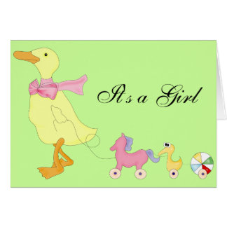 Duck and pony and dolls , It's a Girl Card