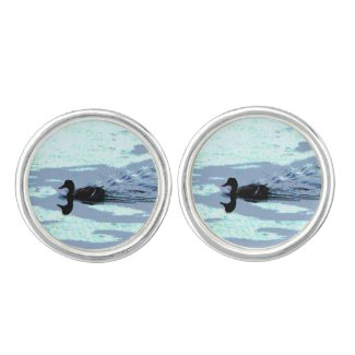 Duck and Ripples Cuff Links Cufflinks