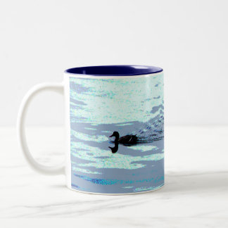 Duck and Ripples Two-Tone Coffee Mug