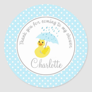Duck Baby Shower 2inch thank you circle Classic Round Sticker