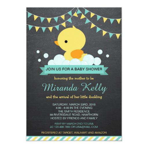 Duck Baby Shower Invitation / Rubber Duck Invite