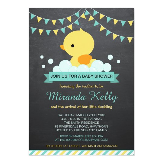 Duck Baby Shower Invitation Rubber Duck Invite Zazzlecom