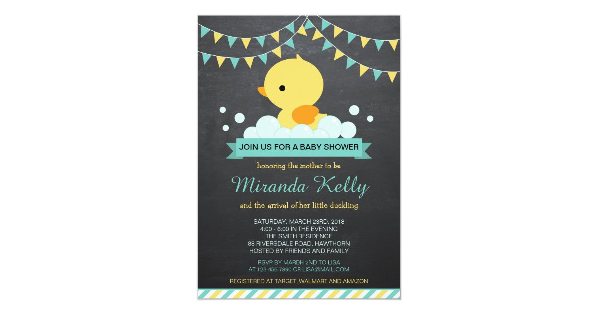 Duck Baby Shower Invitation / Rubber Duck Invite | Zazzle.com