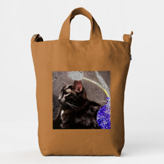 Duck Bag with Black Cat and Stylized Vase
