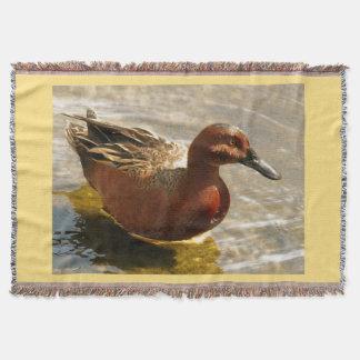 Duck Birds Wildlife Animals Cinnamon Teal Blanket Throw Blanket