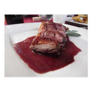 Duck breast on Sangiovese red wine sauce Postcard