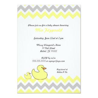 Duck Chevron Baby Shower Invite yellow and gray