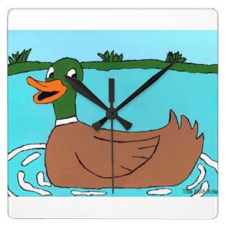 Duck Clock, Quack, Bathroom Decor Square Wall Clock