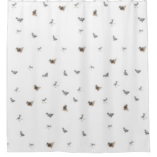 duck collage on white background shower curtain