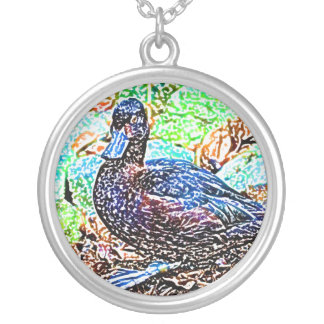 duck colored pencil look bird design personalized necklace