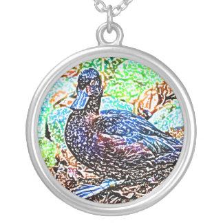 duck colored pencil look bird custom necklace