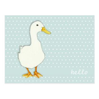 Duck Cool dots Hello Postcard