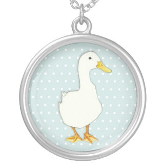 Duck Cool dots Silver Plated Necklace