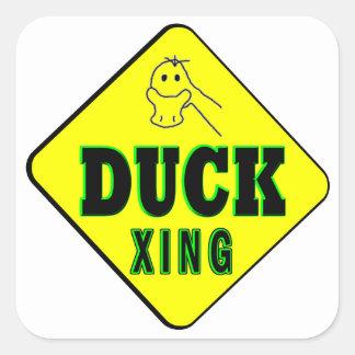 Duck Crossing Square Sticker