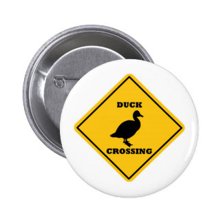 Duck Crossing Street Sign Button
