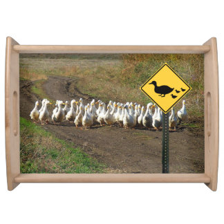 Duck crossing traffic sign serving tray