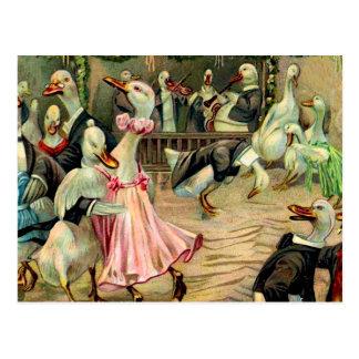 Duck Dancing in a Nightclub Postcard