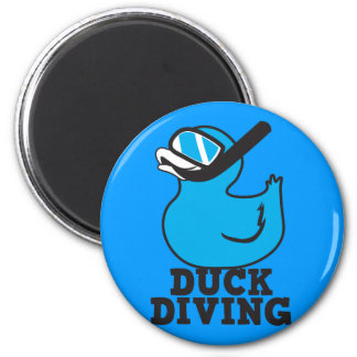 Duck Diving with rubber duckie mask 2 Inch Round Magnet