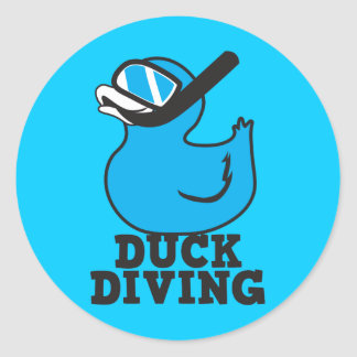Duck Diving with rubber duckie mask Classic Round Sticker