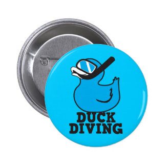 Duck Diving with rubber duckie mask Pinback Button