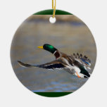 duck Double-Sided ceramic round christmas ornament
