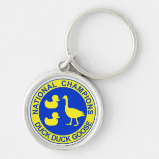 Duck Duck Goose Silver-Colored Round Keychain