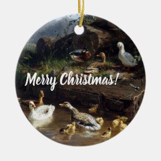 Duck Duckling Birds Pond Merry Christmas Ornament