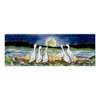 Duck Duckling Family Watching Moon Lake Poster