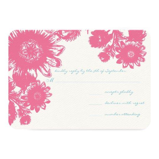 Duck Egg Blue & Pink Vintage Flower Wedding RSVP Card
