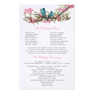 Duck Egg Blue Vintage Birds & Pink Wedding Program Stationery