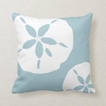 Beach Themed Duck Egg Blue White Sand Dollar Sea Shell Pattern Throw Pillow