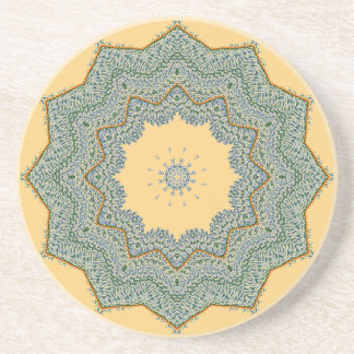 Duck-egg Green With Gold Trim Drink Coaster