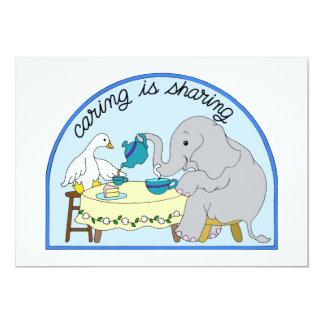 Duck & Elephant Caring & Sharing Tea Party Card
