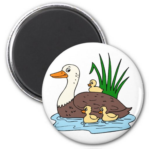 Duck Family 2 Inch Round Magnet