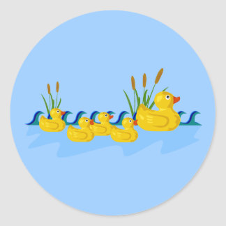 Duck Family Classic Round Sticker