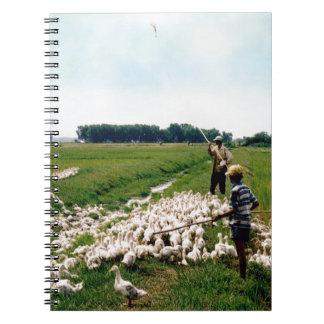 Duck farm near Saigon, Vietnam. Spiral Notebook
