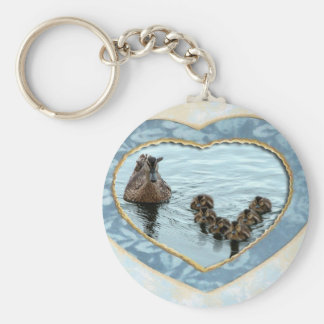 Duck formation in heart key chains