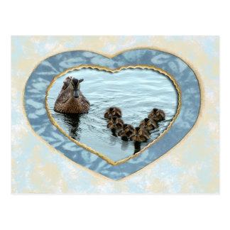 Duck formation in heart postcard