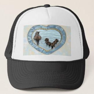 Duck formation in heart trucker hat