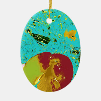 Duck Frog Peach and Fish Surreal Design Double-Sided Oval Ceramic Christmas Ornament