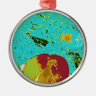 Duck Frog Peach and Fish Surreal Design Round Metal Christmas Ornament