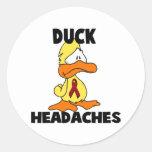 Duck Headaches Round Stickers