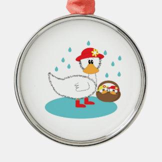 Duck & her ducklings Illustration Metal Ornament