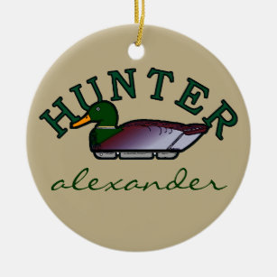 duck hunter personalized ceramic ornament