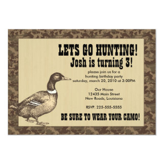 Duck Hunting Birthday 5x7 Paper Invitation Card