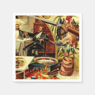 Duck Hunting Cabin Decor Vintage Cigar Label Napkin