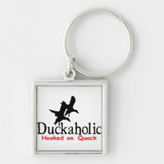 DUCK HUNTING Silver-Colored SQUARE KEYCHAIN